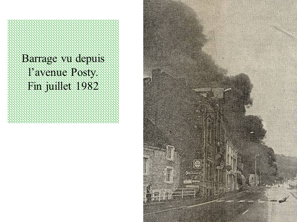 Barrage vu depuis l'avenue Posty. Fin juillet 1982