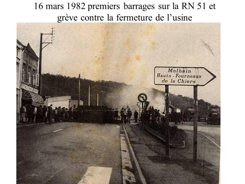 16 mars 1982 premiers barrages sur la RN 51 et grève contre la fermeture de l'usine
