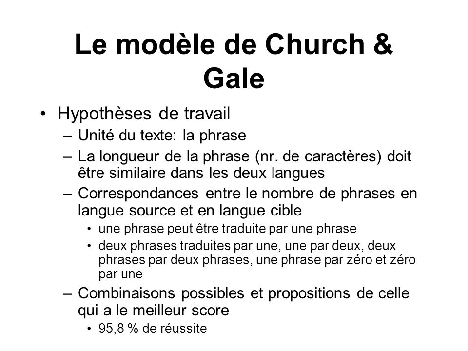 Le modèle de Church & Gale