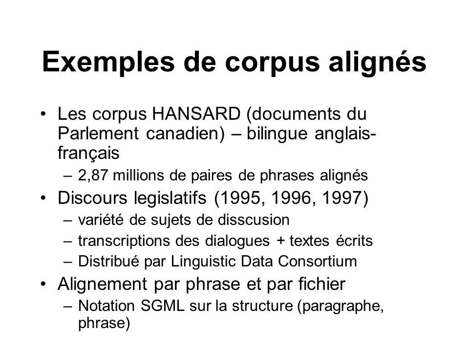 Exemples de corpus alignés