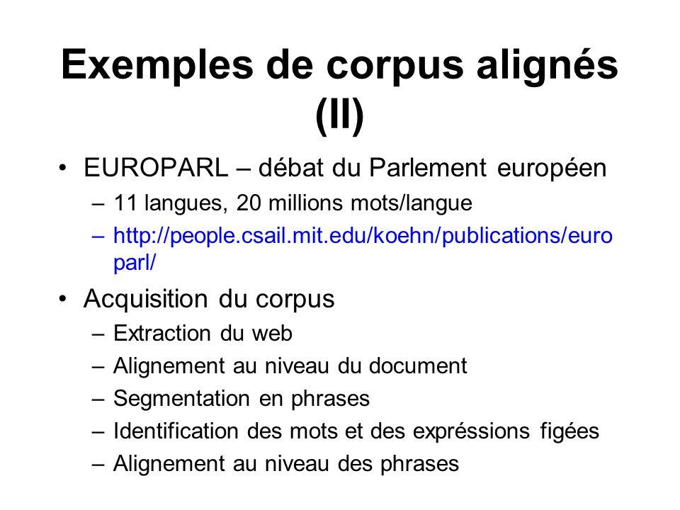 Exemples de corpus alignés (II)