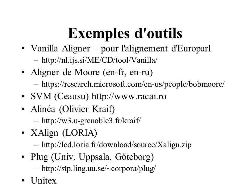 Exemples d outils Vanilla Aligner – pour l alignement d Europarl