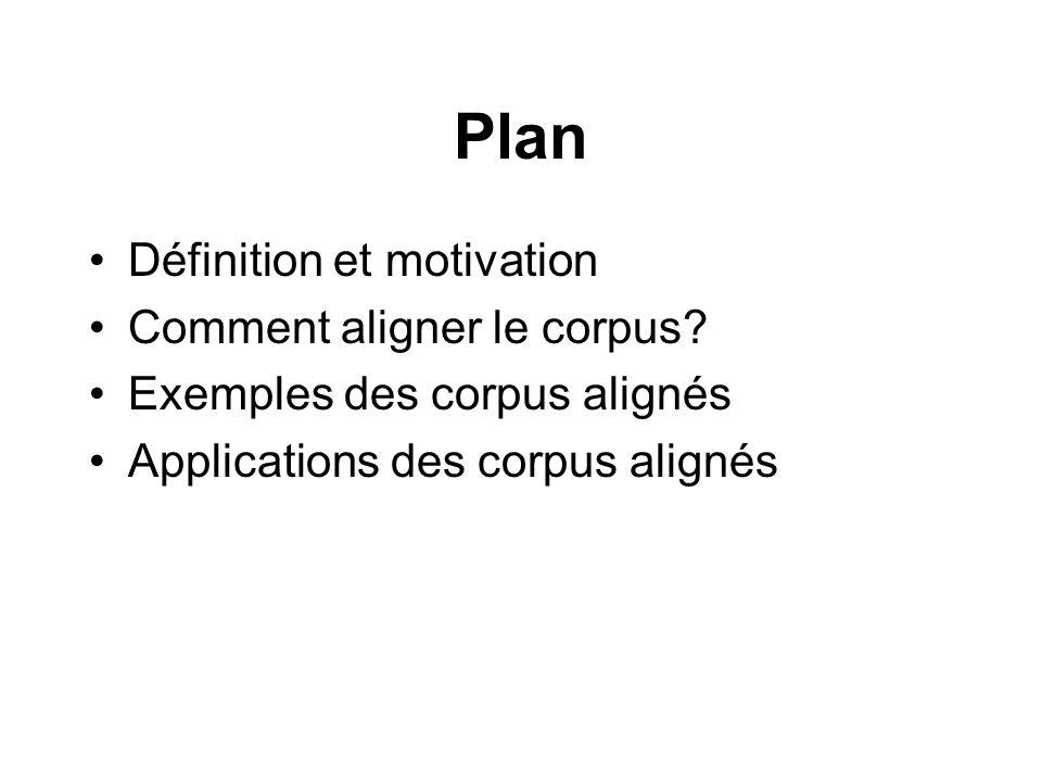 Plan Définition et motivation Comment aligner le corpus