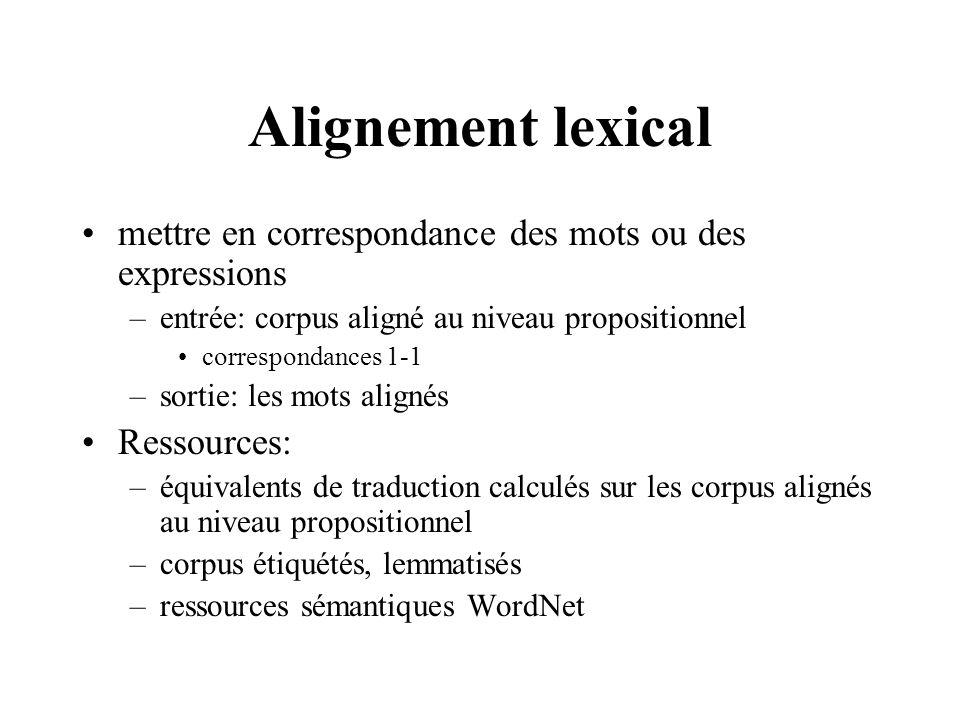Alignement lexical mettre en correspondance des mots ou des expressions. entrée: corpus aligné au niveau propositionnel.