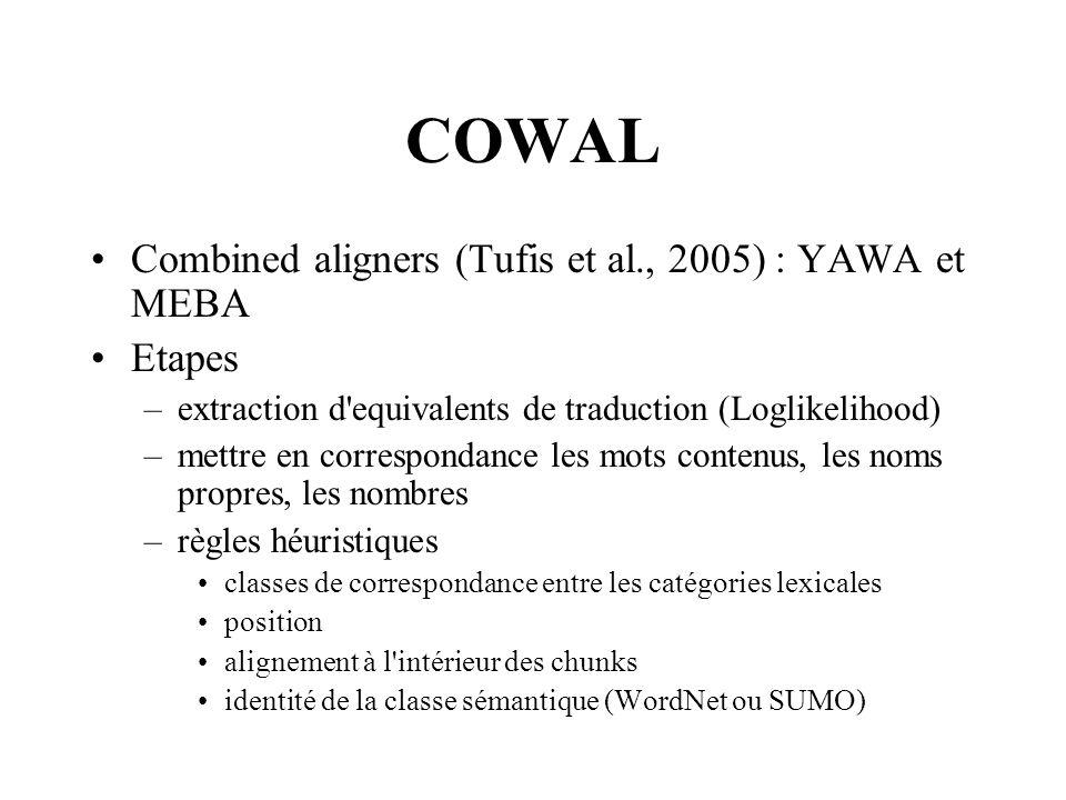 COWAL Combined aligners (Tufis et al., 2005) : YAWA et MEBA Etapes
