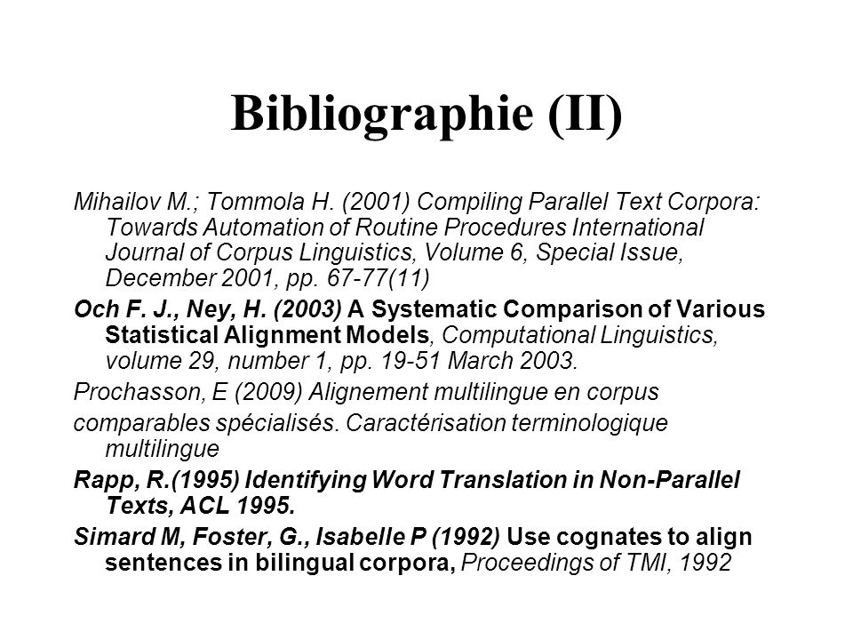Bibliographie (II)