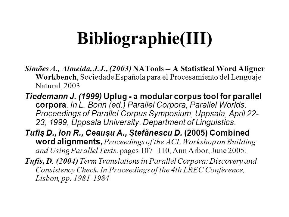 Bibliographie(III)