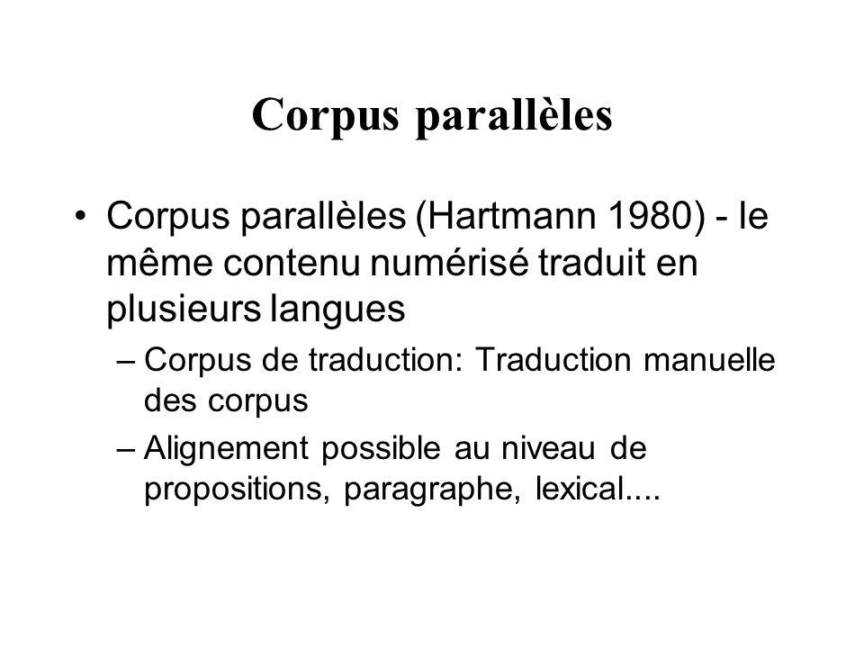 Corpus parallèles Corpus parallèles (Hartmann 1980) - le même contenu numérisé traduit en plusieurs langues.