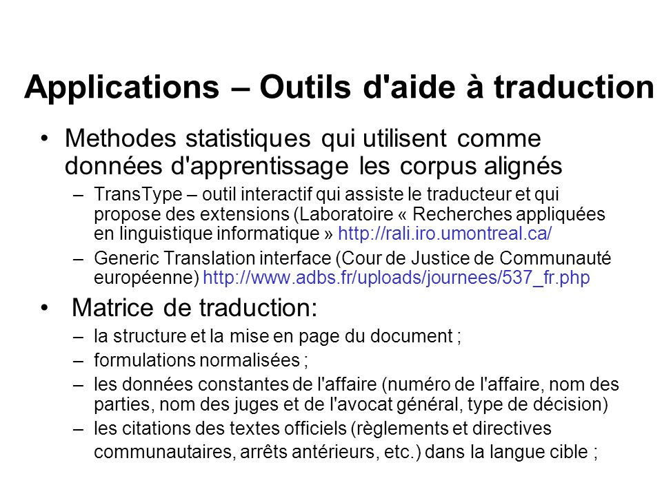 Applications – Outils d aide à traduction