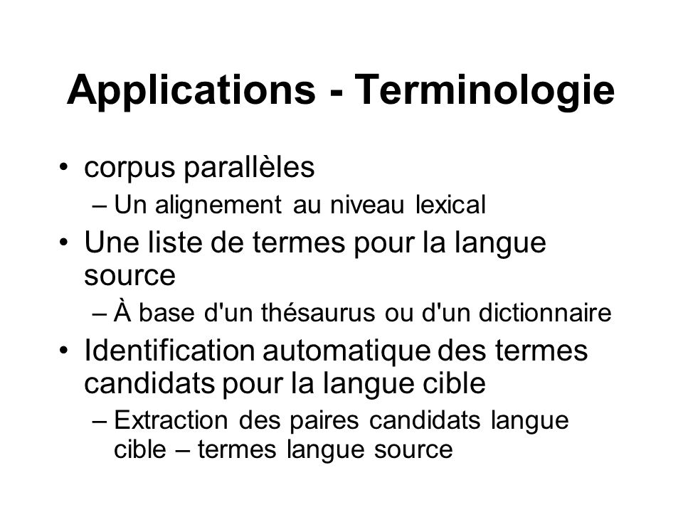 Applications - Terminologie