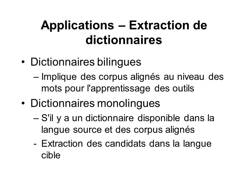 Applications – Extraction de dictionnaires