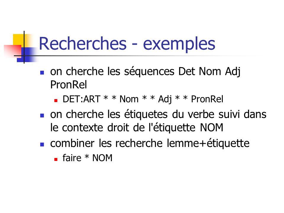 Recherches - exemples on cherche les séquences Det Nom Adj PronRel