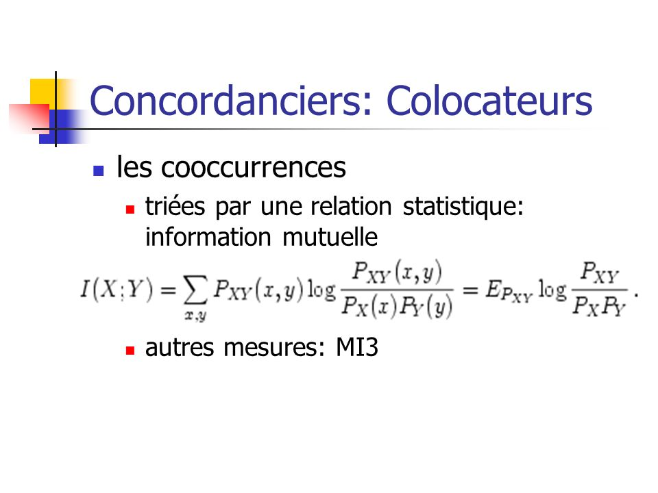 Concordanciers: Colocateurs