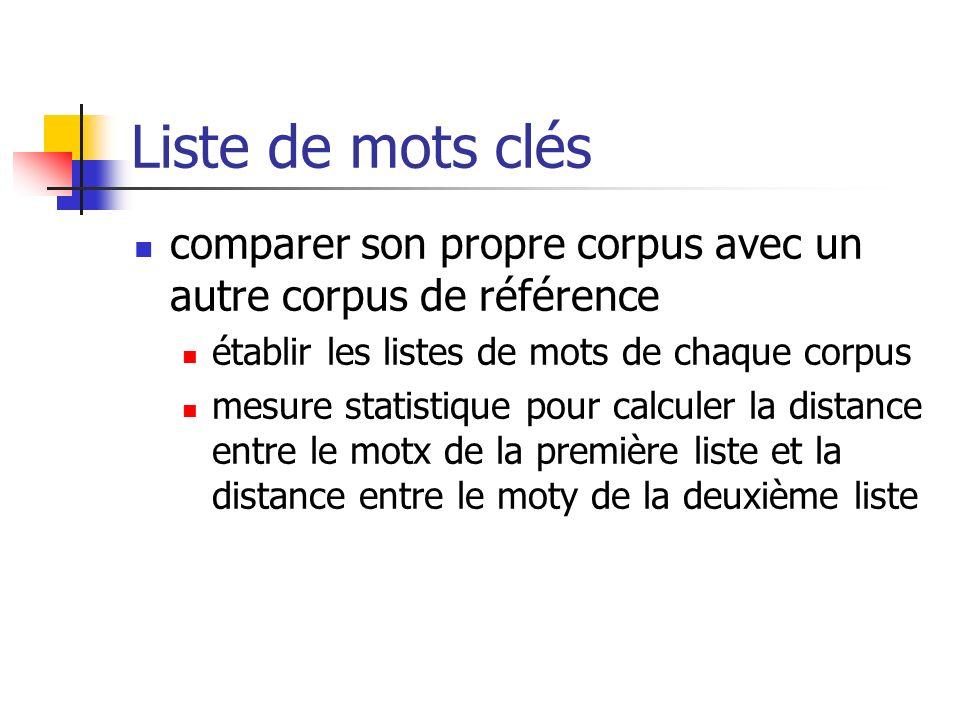 Liste de mots clés comparer son propre corpus avec un autre corpus de référence. établir les listes de mots de chaque corpus.