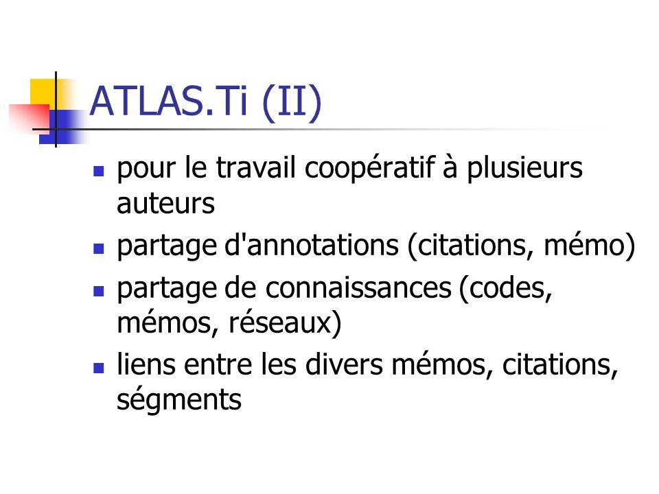 ATLAS.Ti (II) pour le travail coopératif à plusieurs auteurs