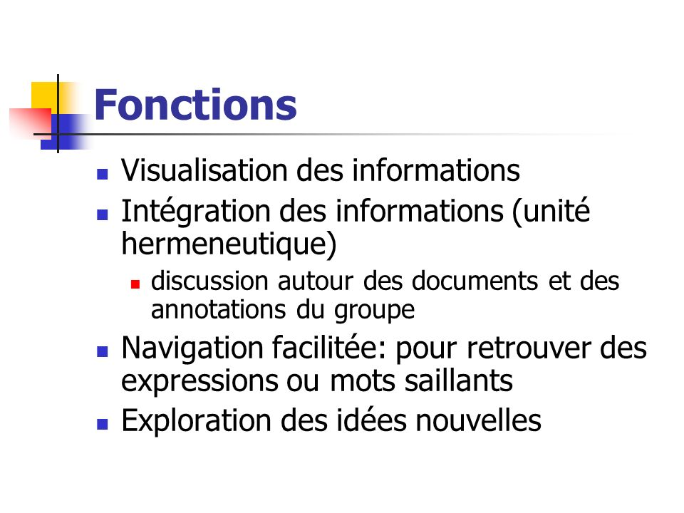 Fonctions Visualisation des informations