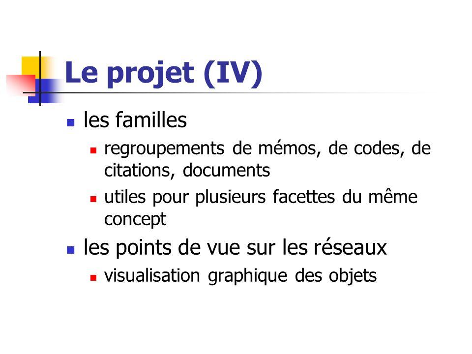 Le projet (IV) les familles les points de vue sur les réseaux