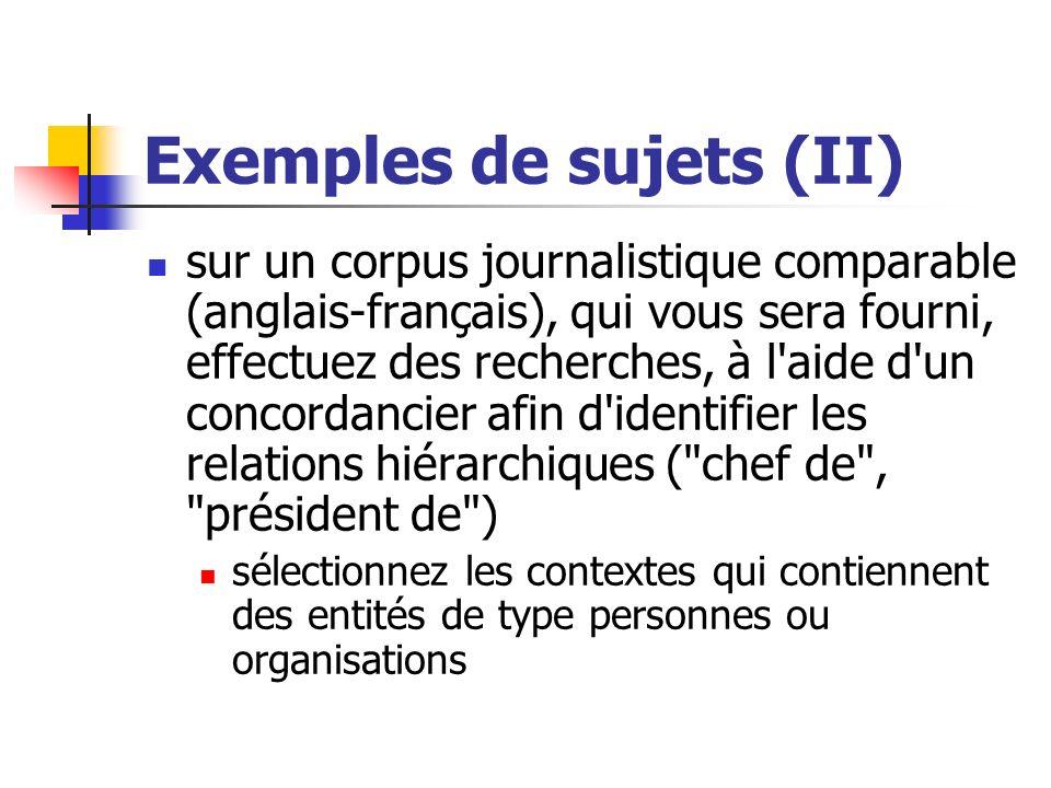 Exemples de sujets (II)