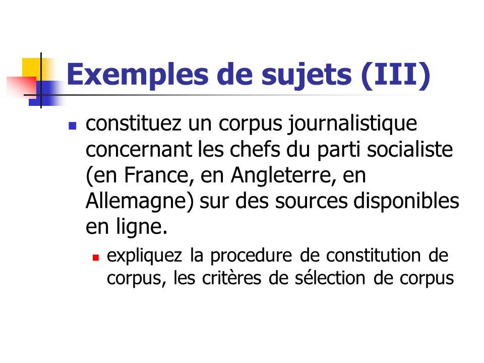Exemples de sujets (III)