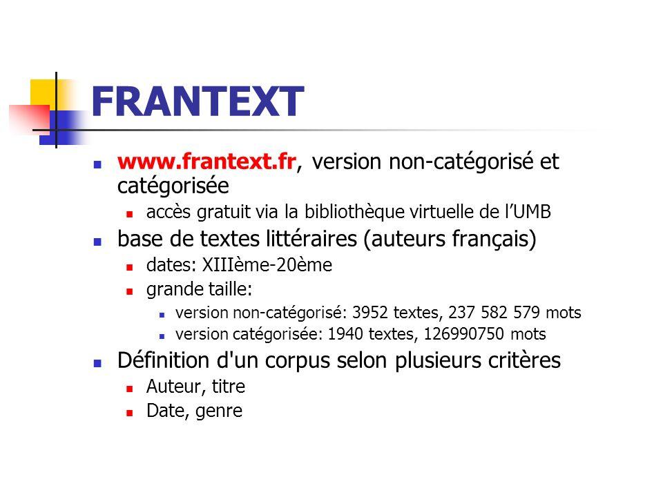FRANTEXT www.frantext.fr, version non-catégorisé et catégorisée