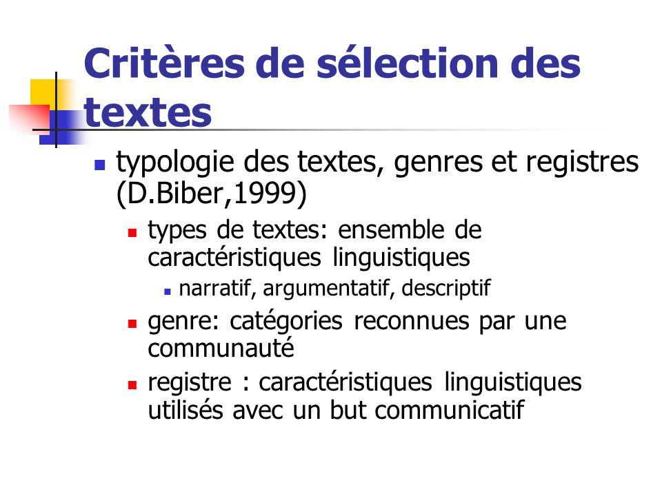 Critères de sélection des textes