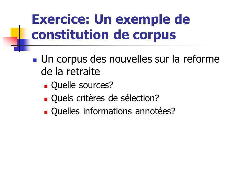 Exercice: Un exemple de constitution de corpus