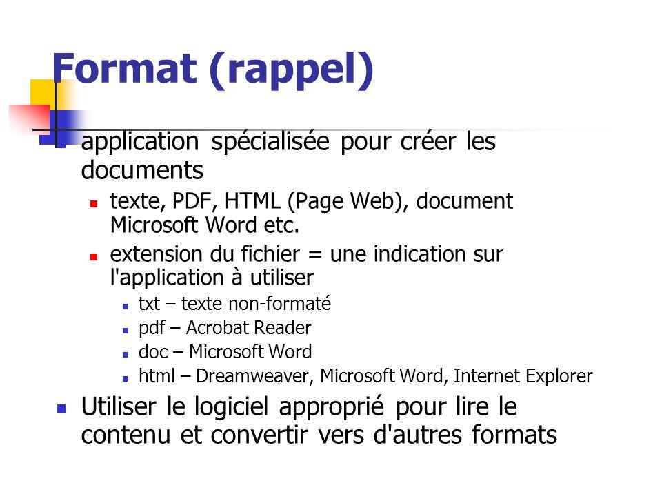 Format (rappel) application spécialisée pour créer les documents