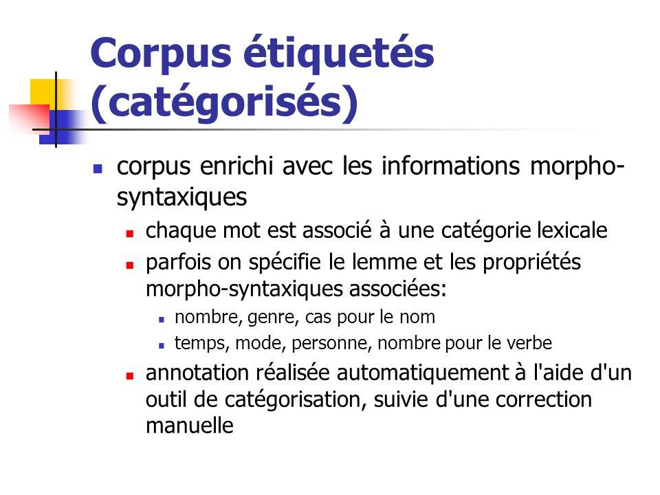 Corpus étiquetés (catégorisés)