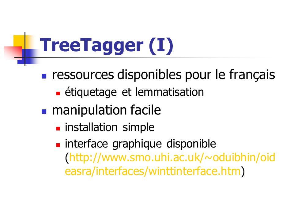 TreeTagger (I) ressources disponibles pour le français