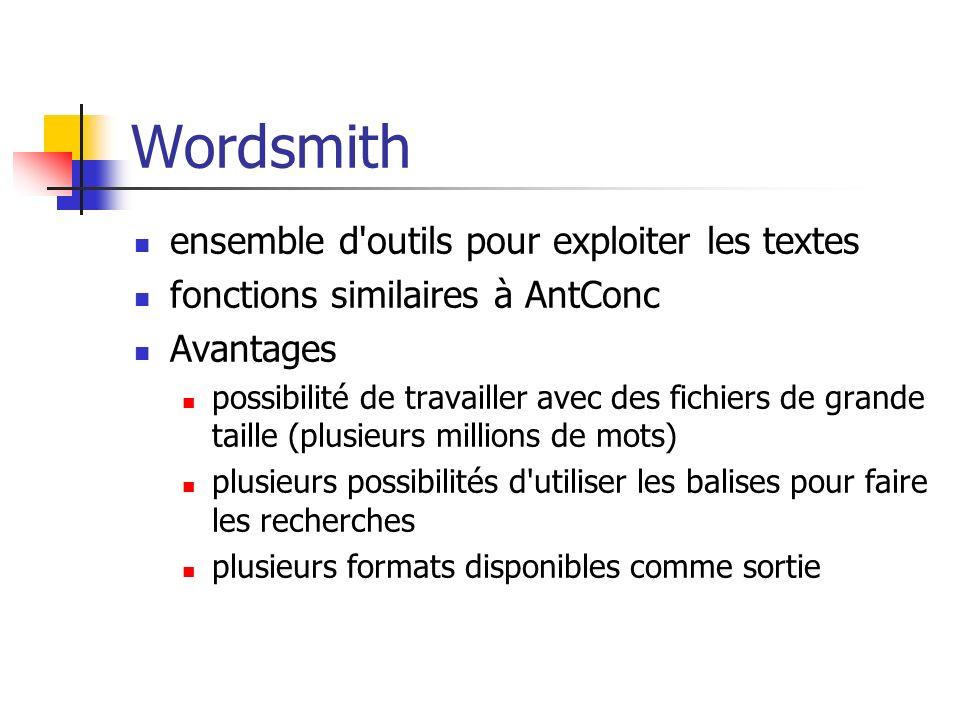 Wordsmith ensemble d outils pour exploiter les textes
