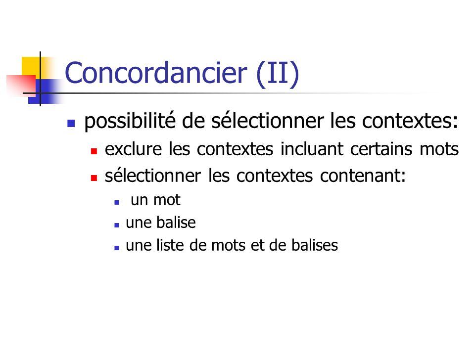 Concordancier (II) possibilité de sélectionner les contextes: