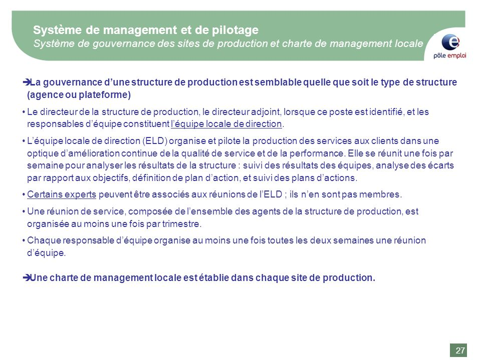Système de management et de pilotage Système de gouvernance des sites de production et charte de management locale