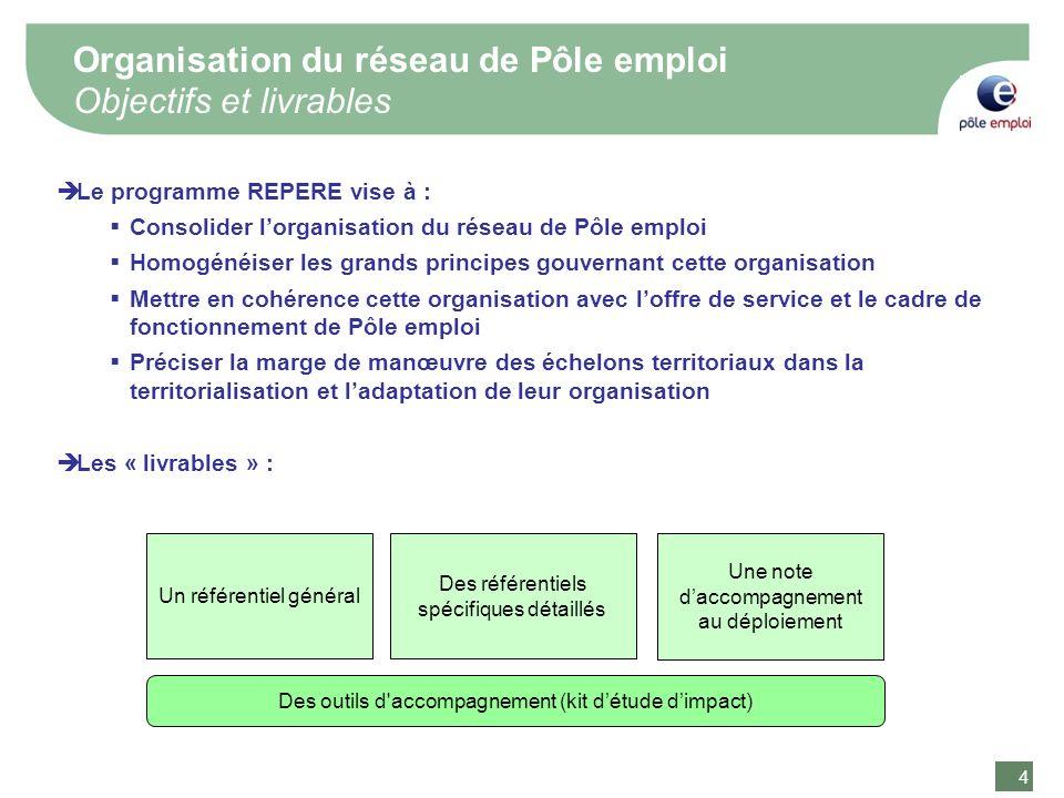 Organisation du réseau de Pôle emploi Objectifs et livrables