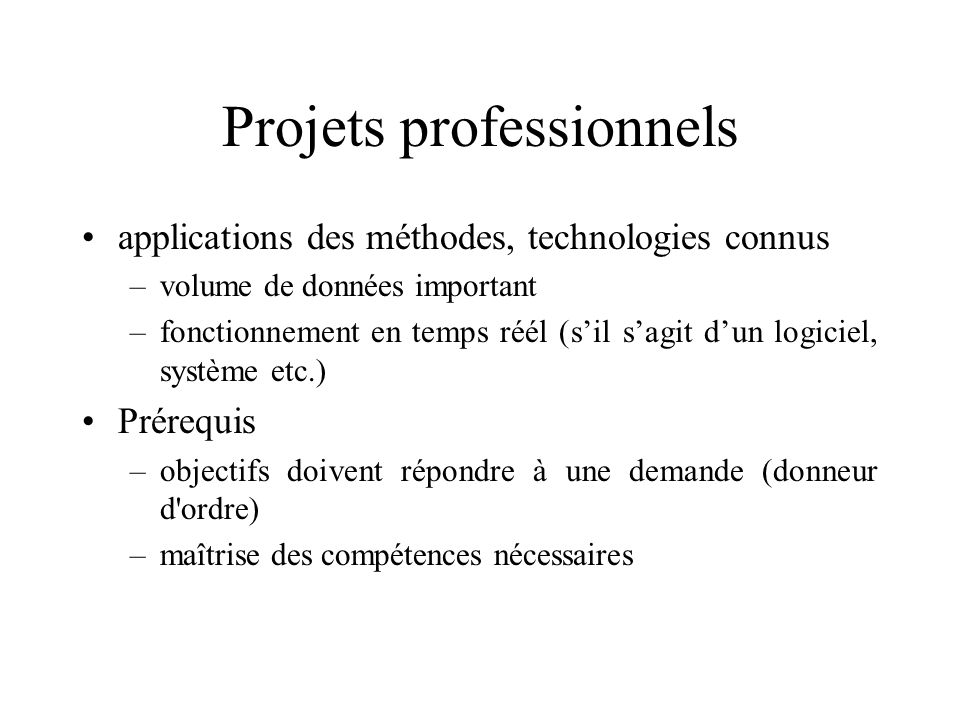 Projets professionnels