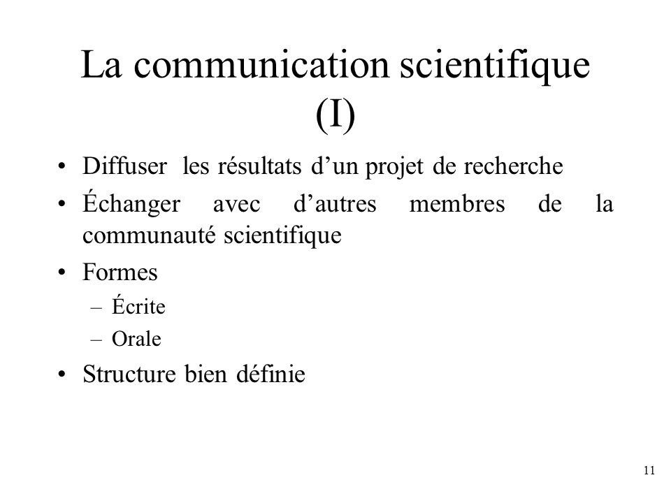 La communication scientifique (I)