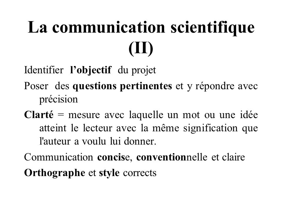 La communication scientifique (II)