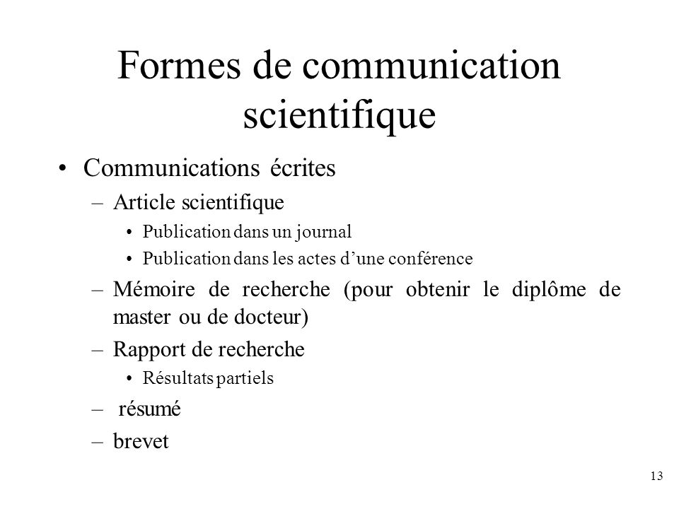 Formes de communication scientifique