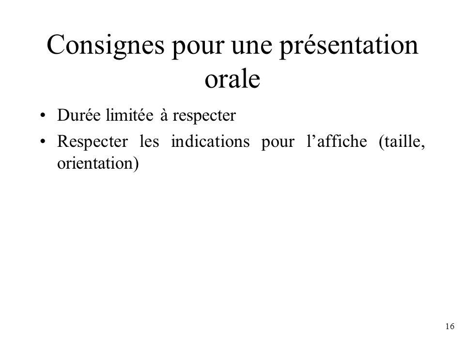 Consignes pour une présentation orale
