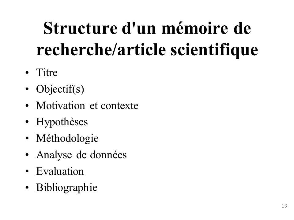 Structure d un mémoire de recherche/article scientifique