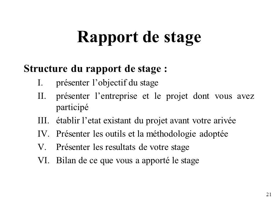 Rapport de stage Structure du rapport de stage :