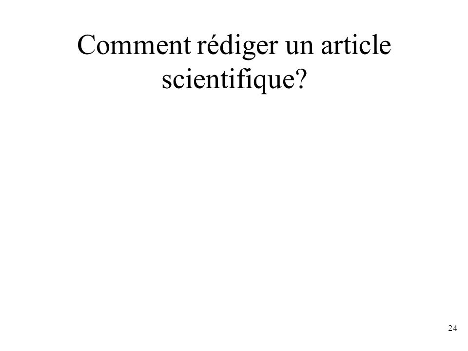 Comment rédiger un article scientifique