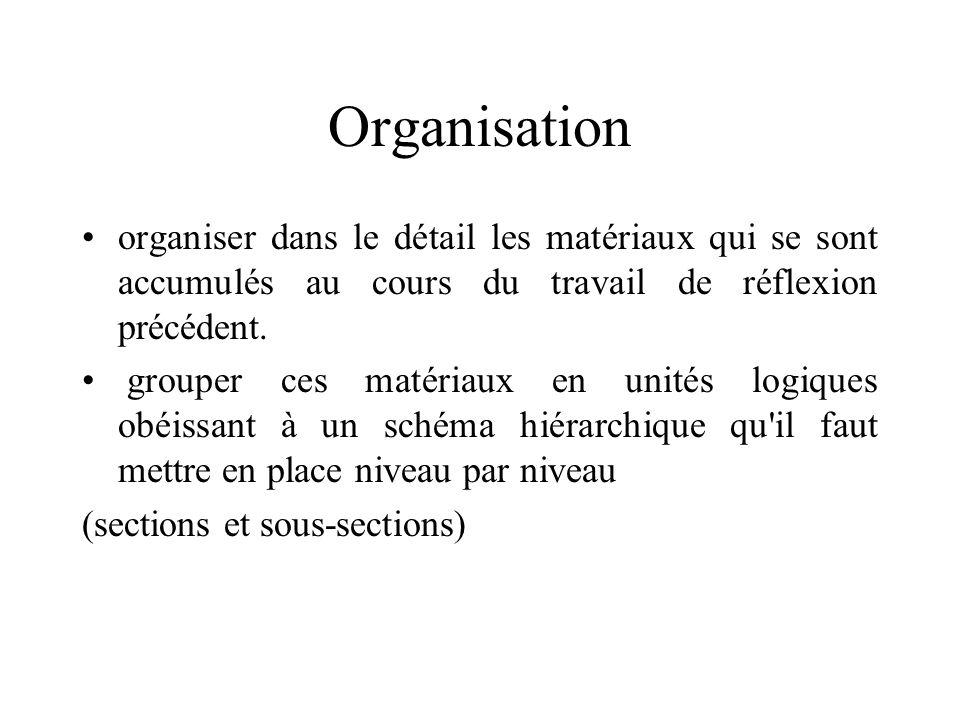 Organisation organiser dans le détail les matériaux qui se sont accumulés au cours du travail de réflexion précédent.