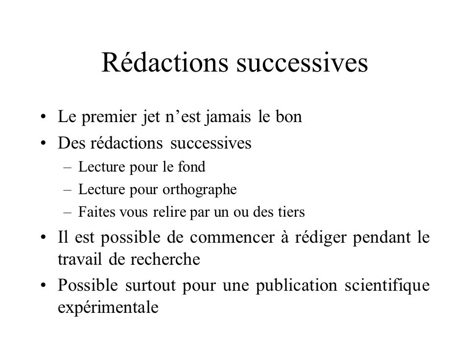 Rédactions successives