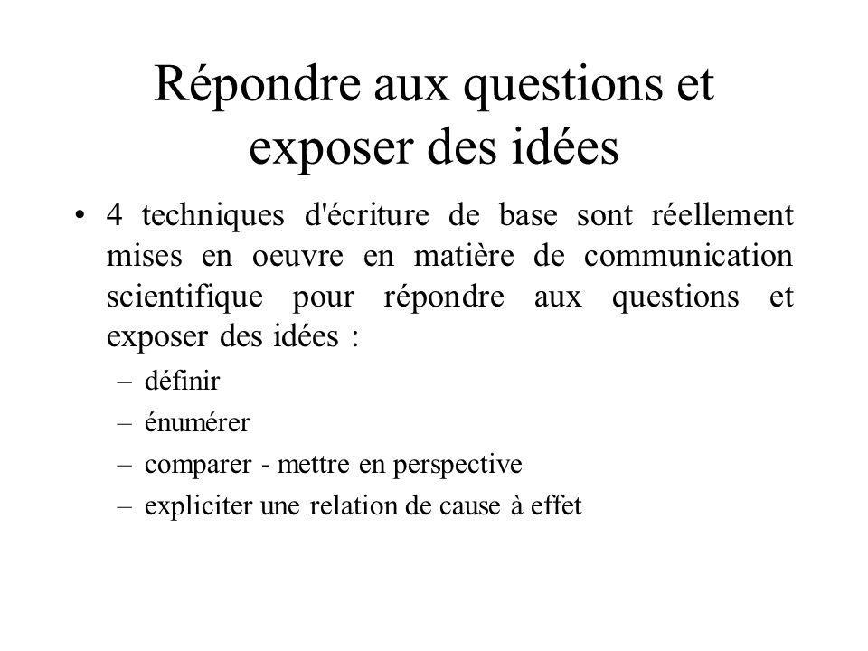 Répondre aux questions et exposer des idées
