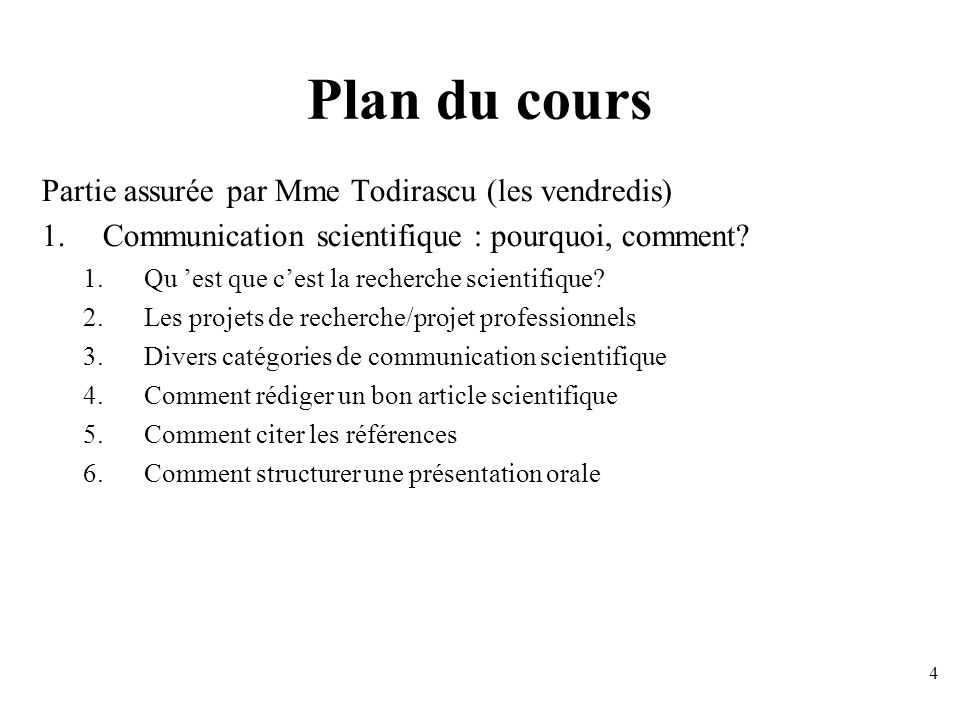 Plan du cours Partie assurée par Mme Todirascu (les vendredis)