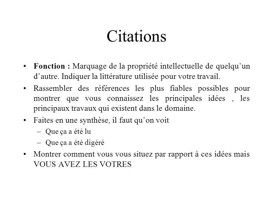 Citations Fonction : Marquage de la propriété intellectuelle de quelqu'un d'autre. Indiquer la littérature utilisée pour votre travail.