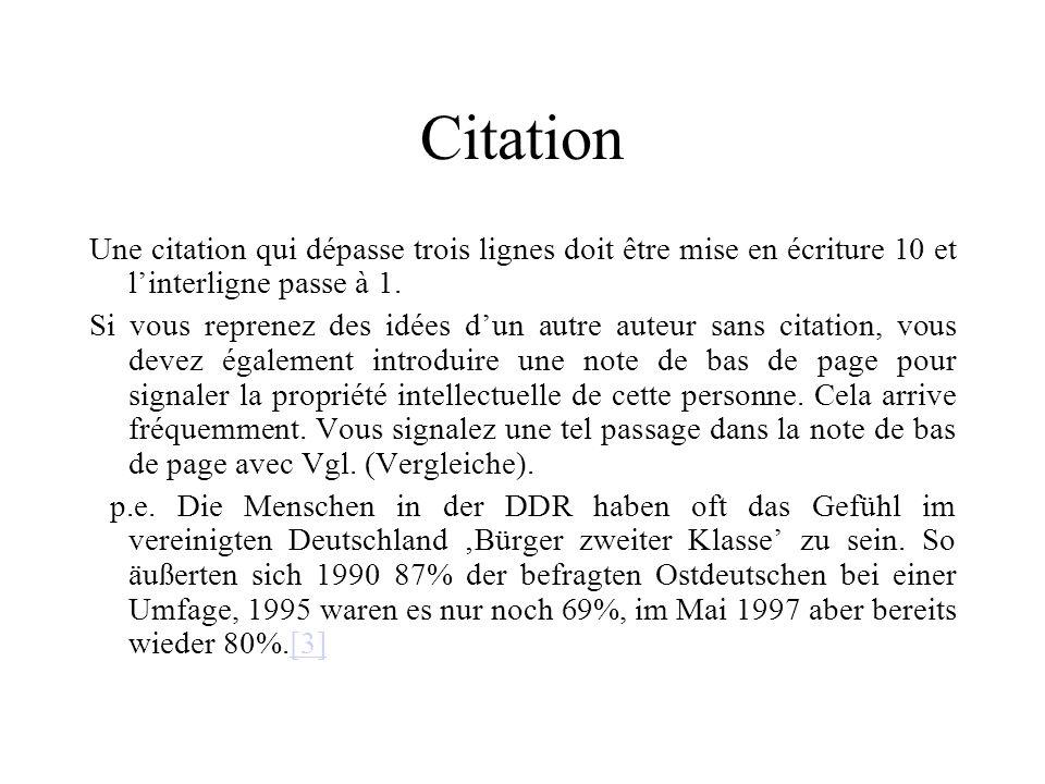 Citation Une citation qui dépasse trois lignes doit être mise en écriture 10 et l'interligne passe à 1.