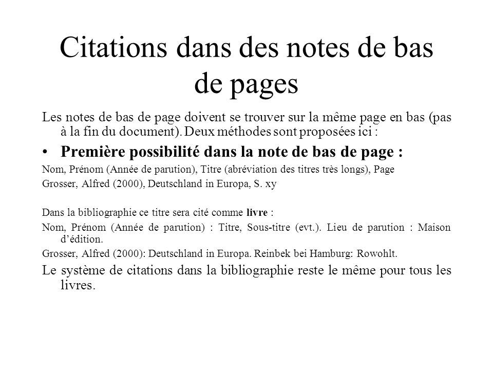 Citations dans des notes de bas de pages