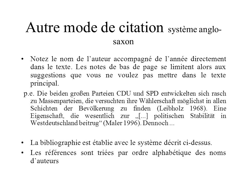 Autre mode de citation système anglo-saxon