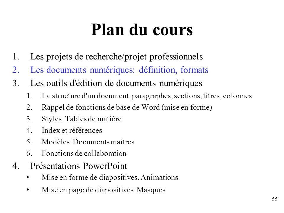 Plan du cours Les projets de recherche/projet professionnels